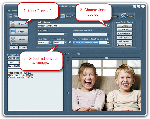 Choose Webcam & Set the Output Video